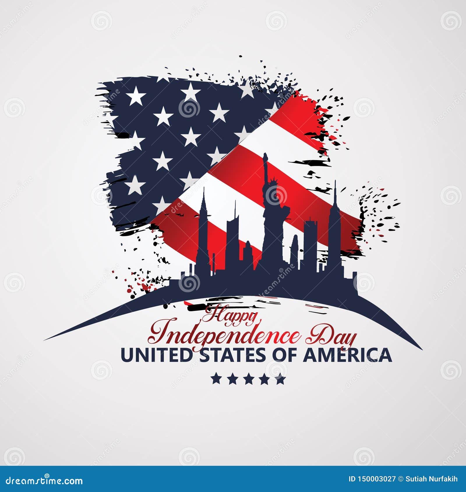 Quatrième de Jour de la Déclaration d Indépendance de juillet, illustration de vecteur