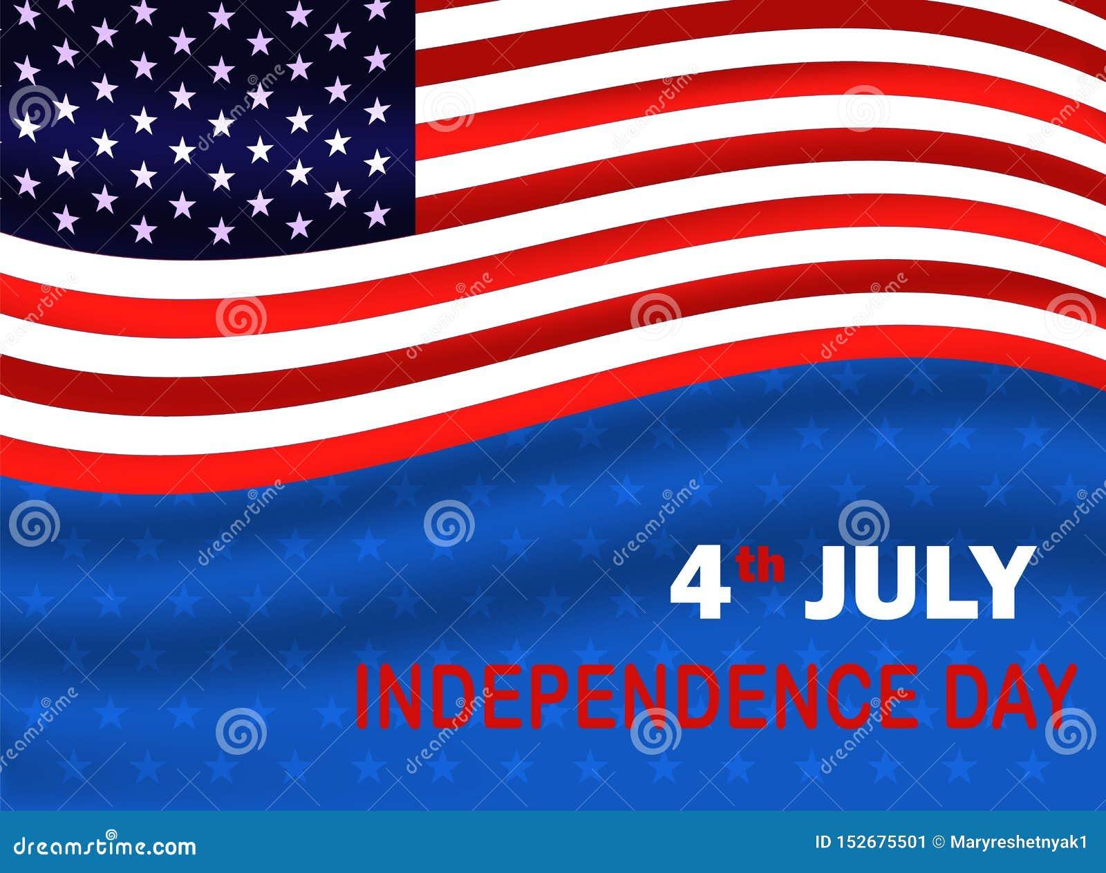 Quatri?me du Jour de la D?claration d Ind?pendance de juillet des Etats-Unis Drapeau des Etats-Unis ondulant sur le fond bleu ave