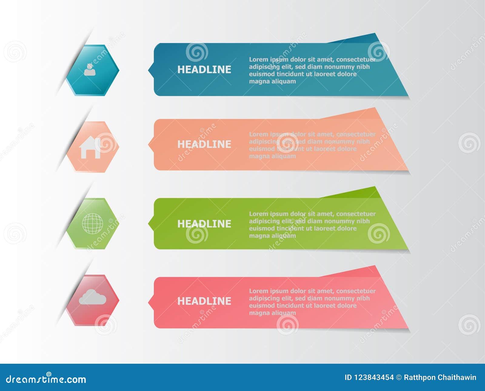 Quatro bandeira infographic colorida, conceito do negócio
