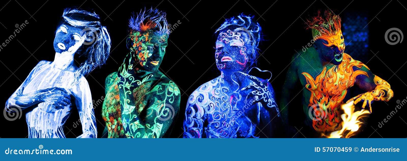 Quatro elementos Arte corporal que incandesce na luz ultravioleta