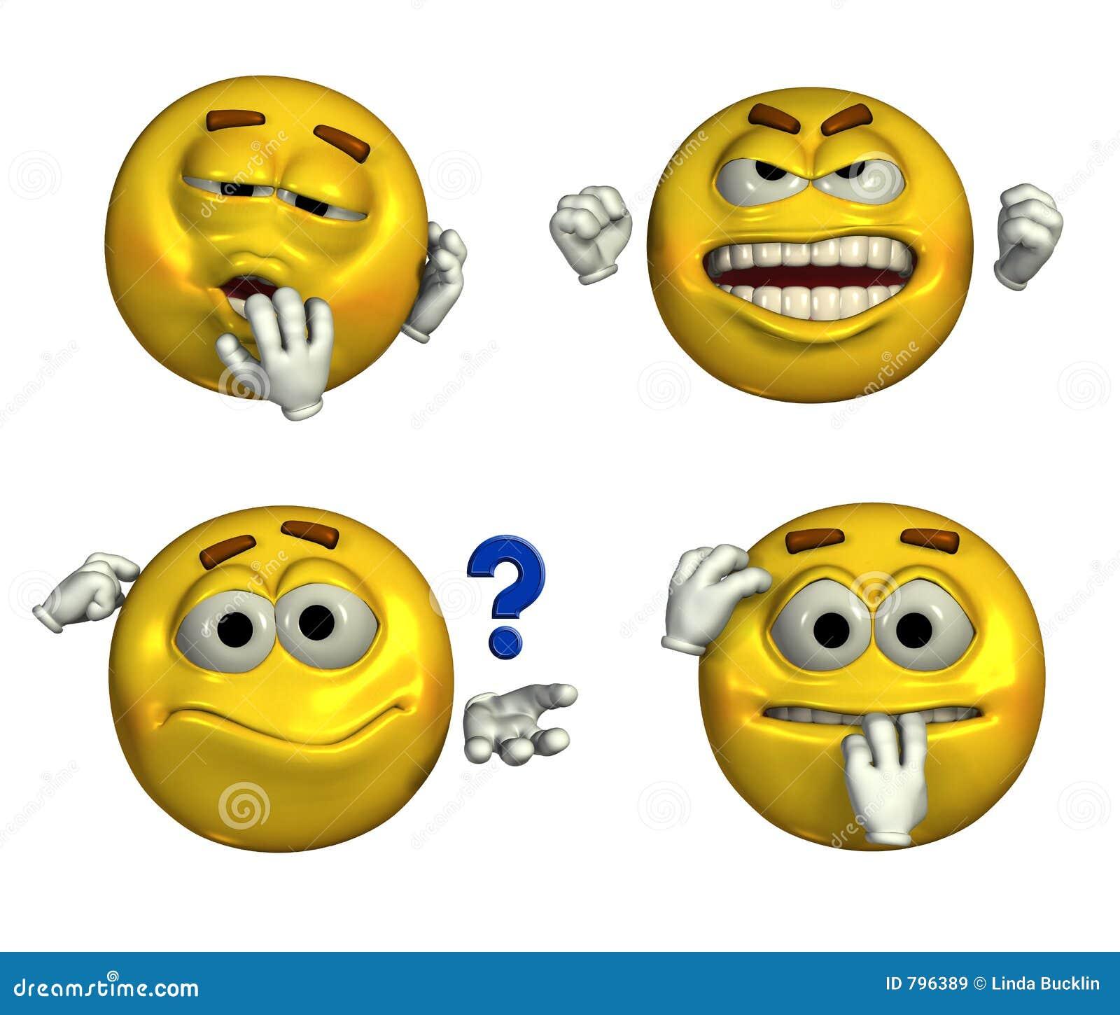 Quatro Emoticons - com trajeto de grampeamento