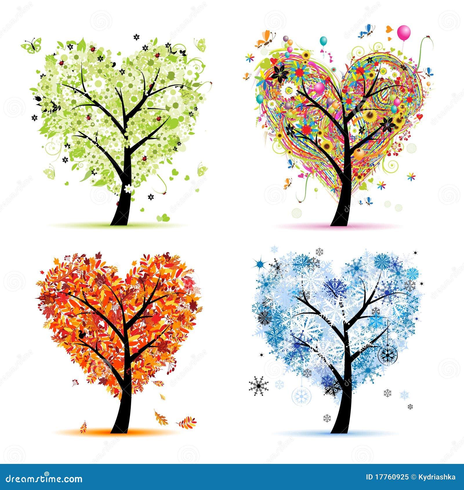 Quatro estações. Forma do coração da árvore da arte
