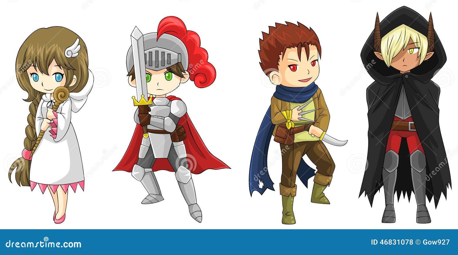 Quatro Guerreiros Dos Desenhos Animados Da Fantasia E Carateres Do