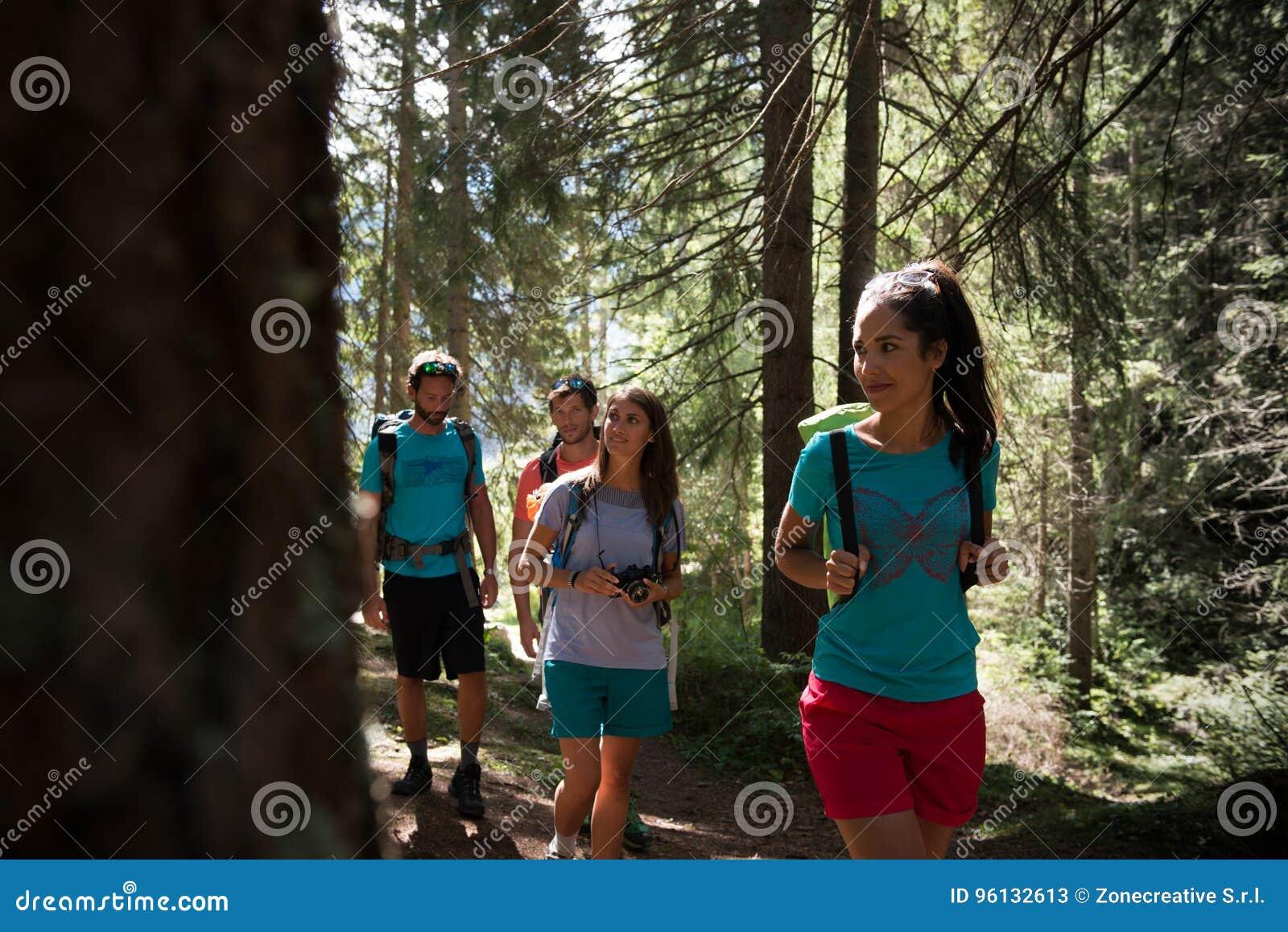 Quatro homem e mulher que andam ao longo do trajeto da fuga de caminhada em madeiras da floresta durante o dia ensolarado Grupo d