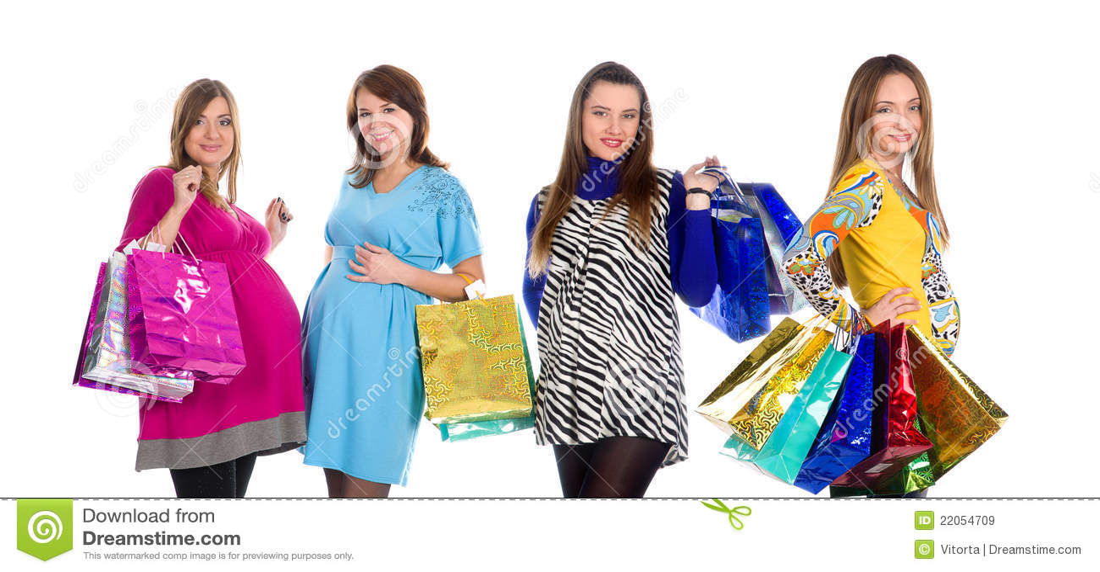 Quatro mulheres gravidas na compra