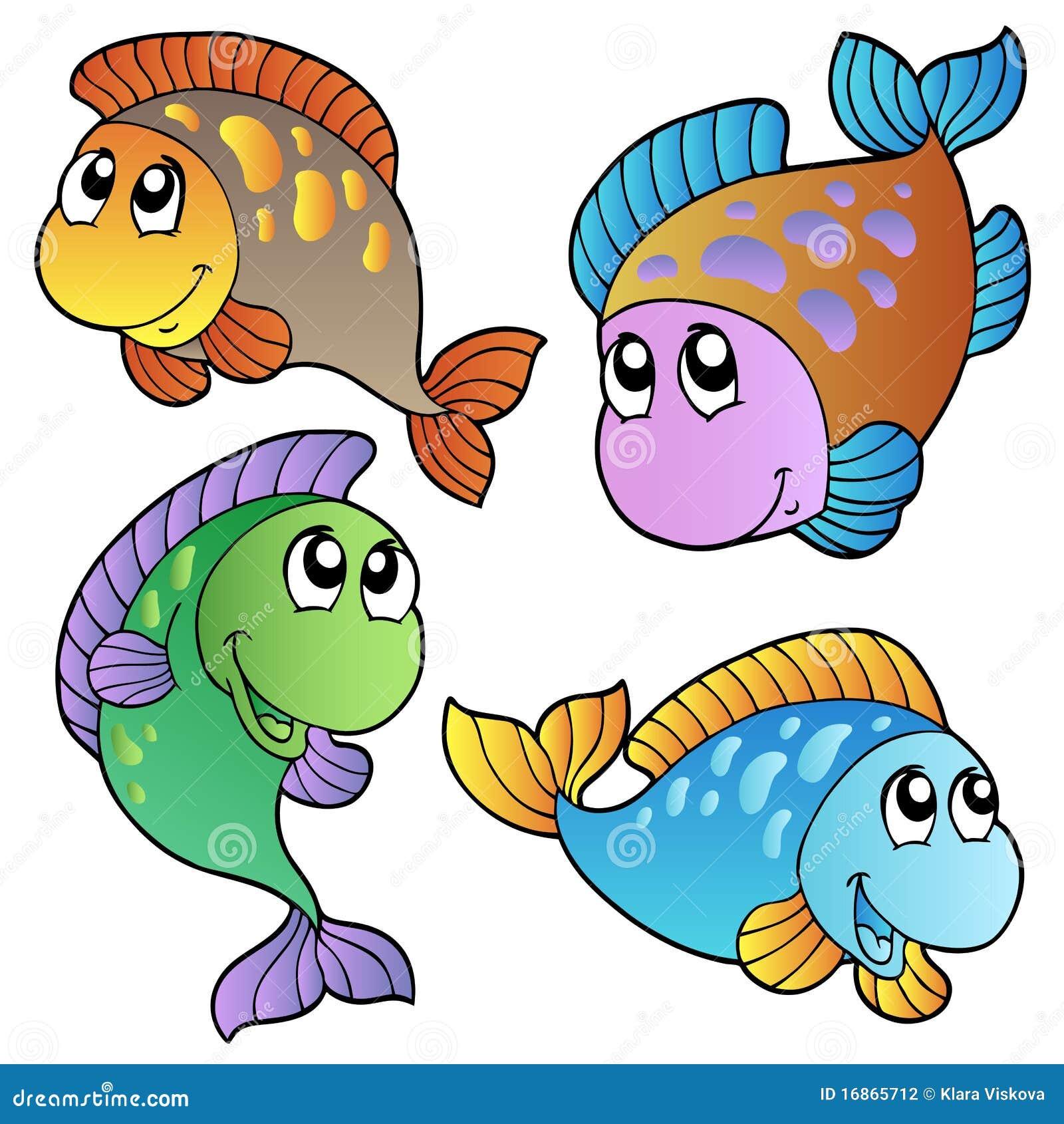 Quatro peixes dos desenhos animados