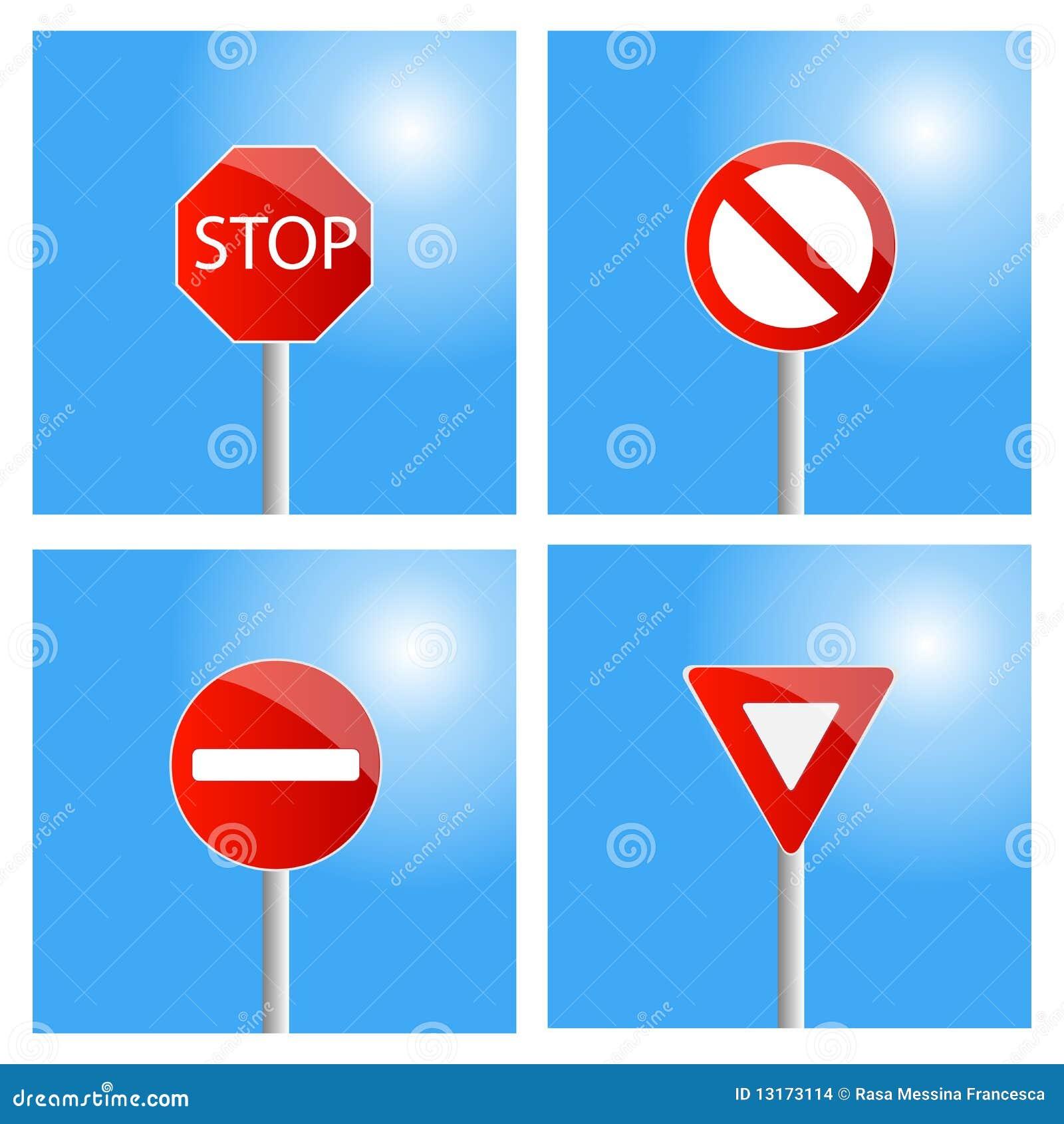 Quatro sinais de estrada