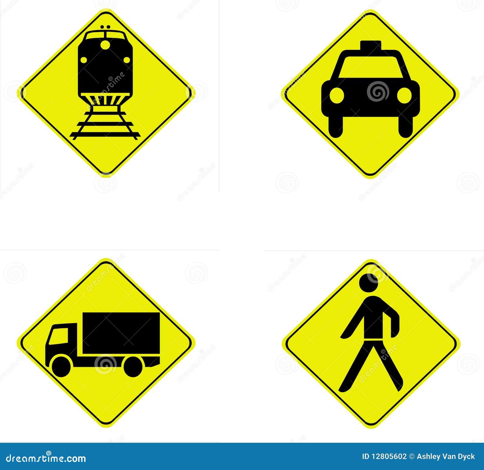 Quatro sinais de tráfego da segurança