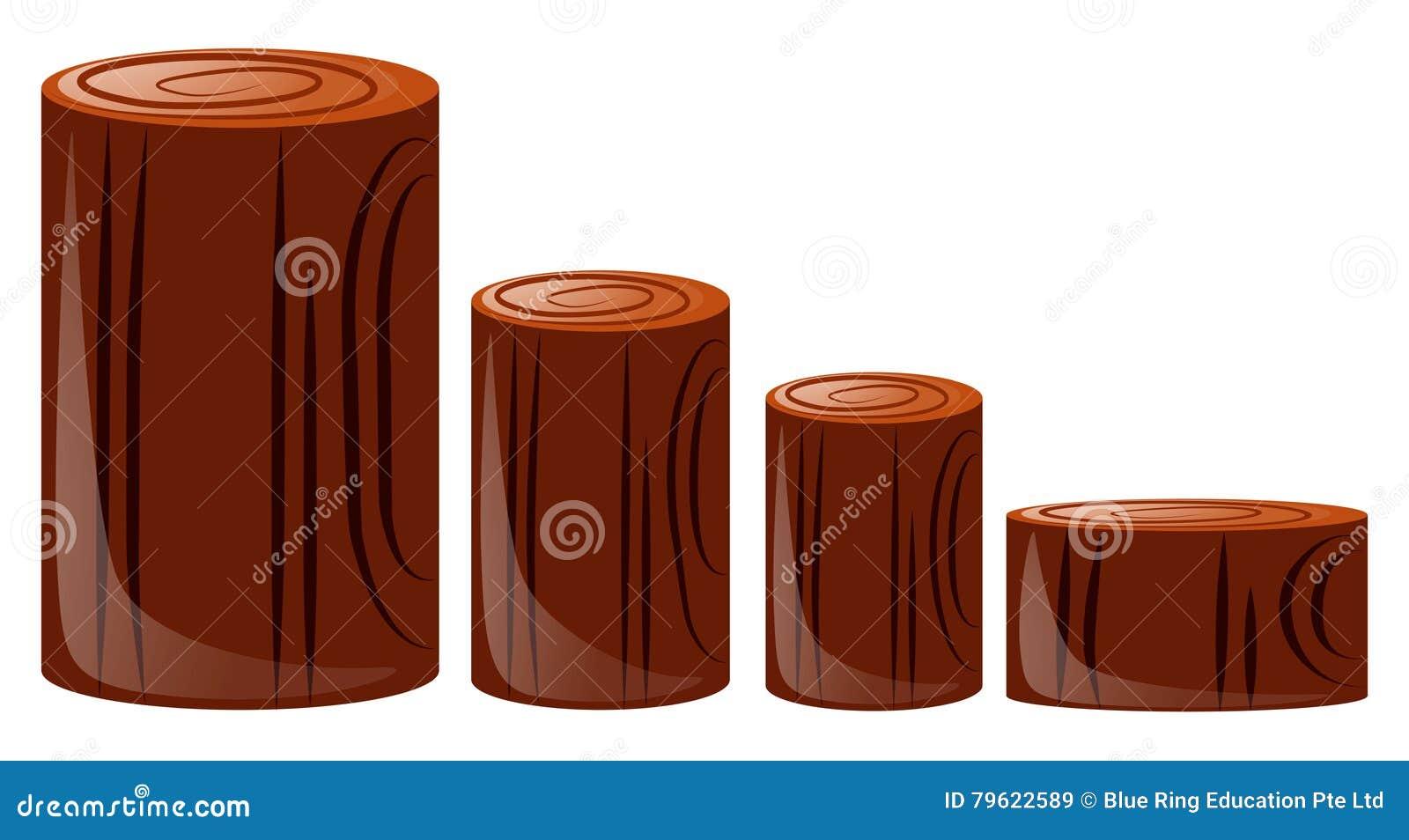 Quatro tamanhos diferentes do log