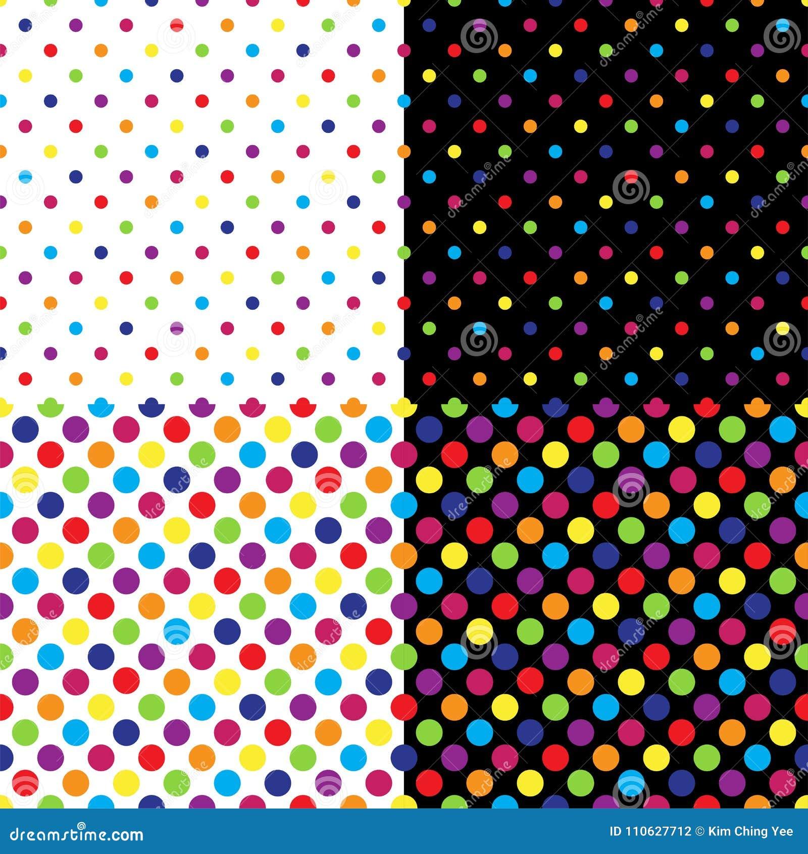 Quatro testes padrões de às bolinhas coloridos sem emenda diferentes Ilustração do vetor