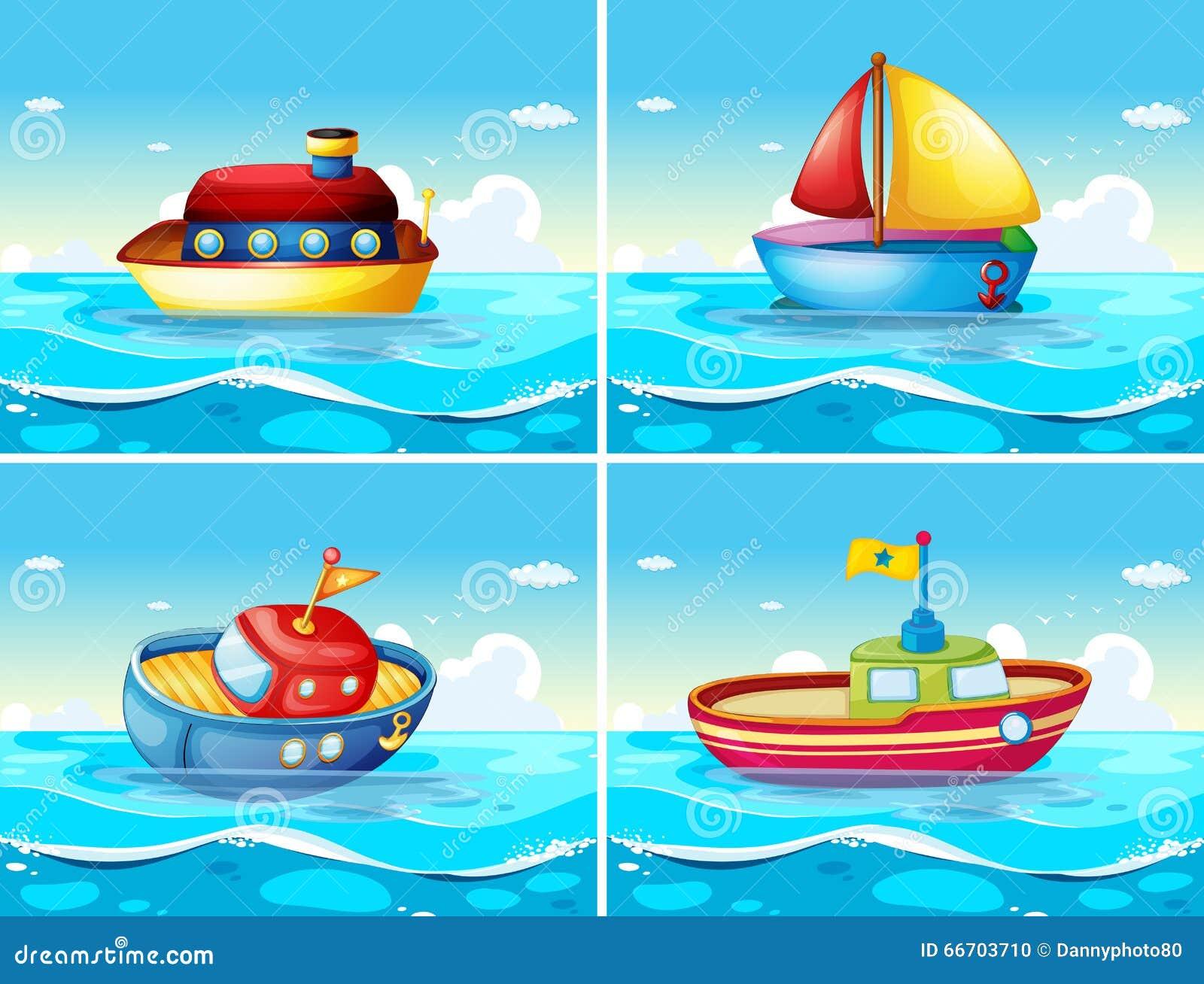 Quatro tipos diferentes de barcos que flutuam no mar