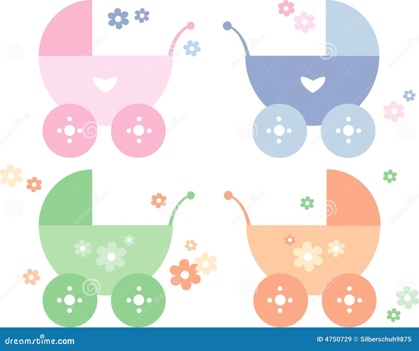 Quattro carrozzine colorate differenti del bambino