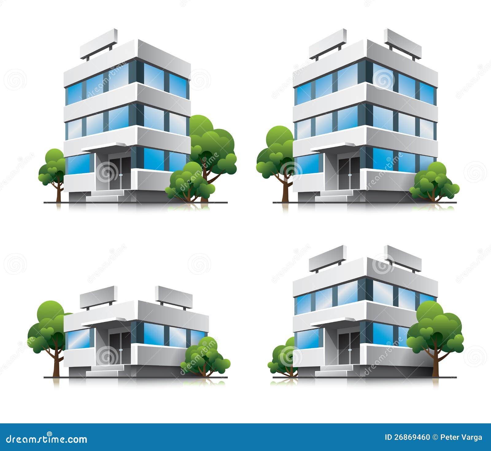 Quattro Costruzioni Di Vettore Dell'ufficio Del Fumetto