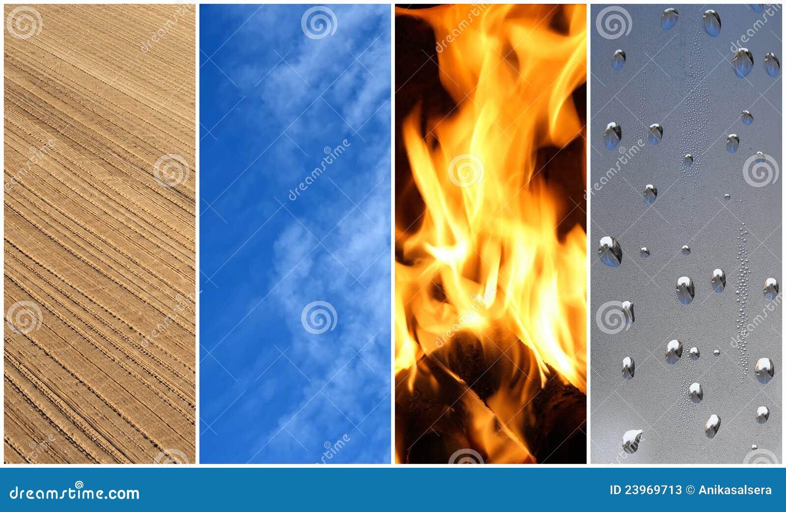 Quattro elementi. Terra, aria, fuoco, acqua.