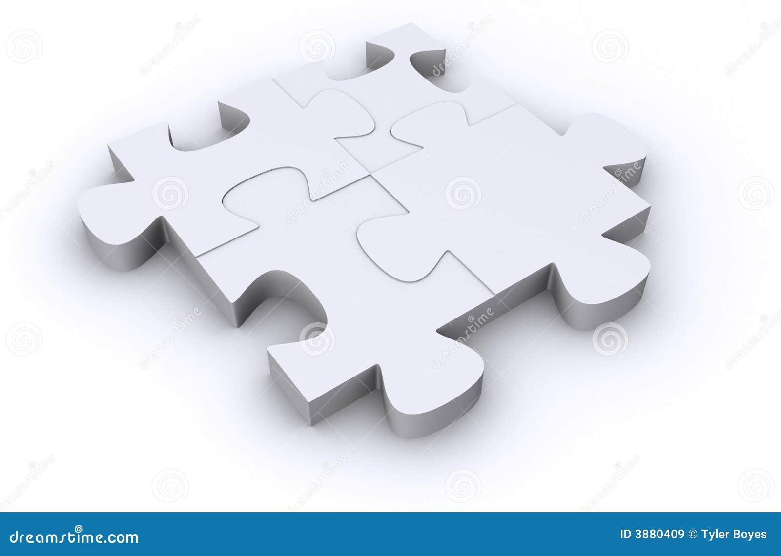 Quattro parti bianche di puzzle