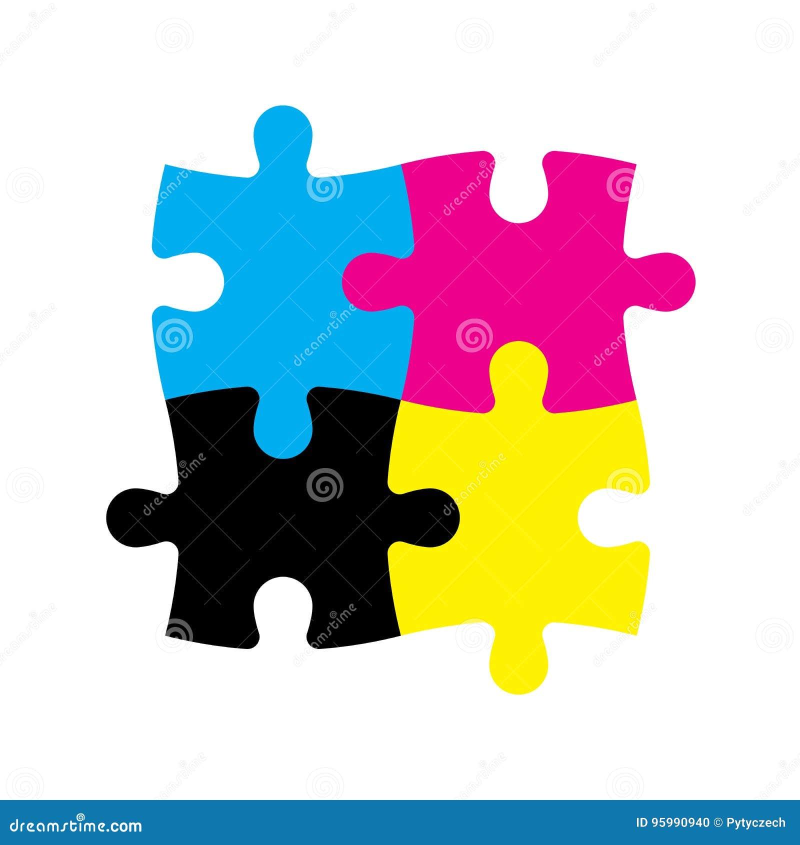 Quattro Pezzi Del Puzzle Nei Colori Di CMYK Tema Della ...