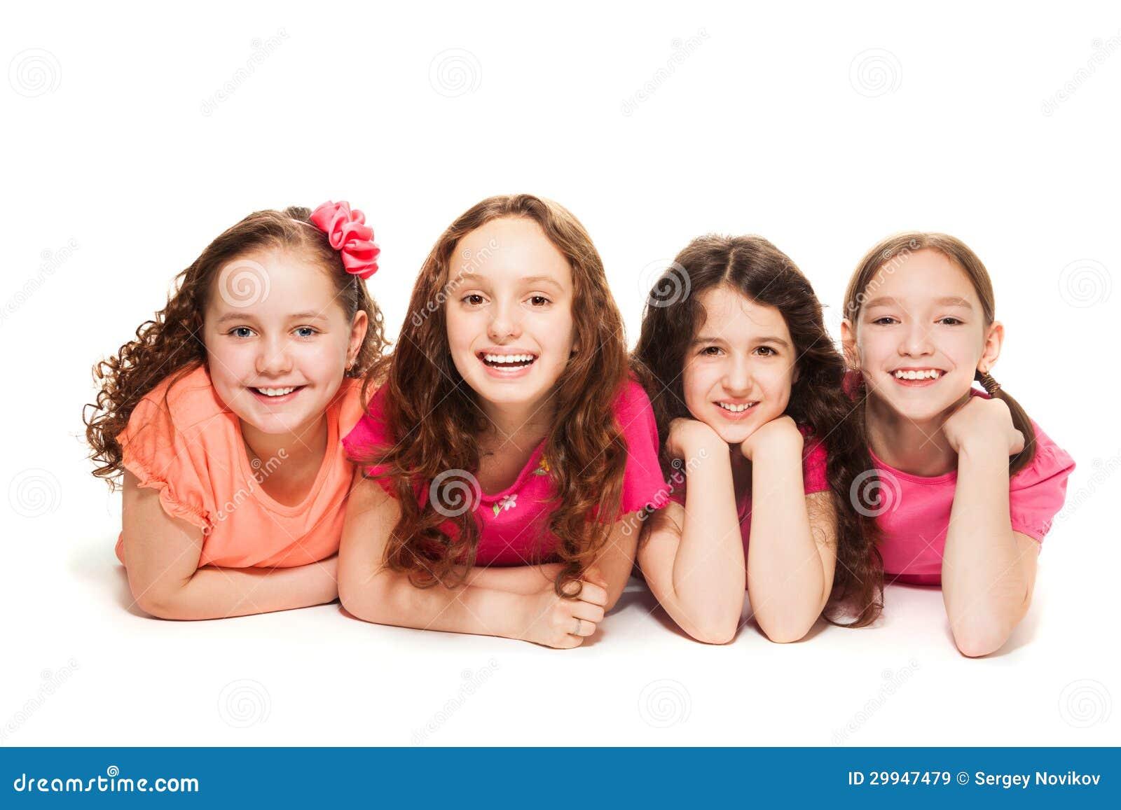 Quattro Amici Di Ragazze Felici Immagine Stock Immagine Di Poco