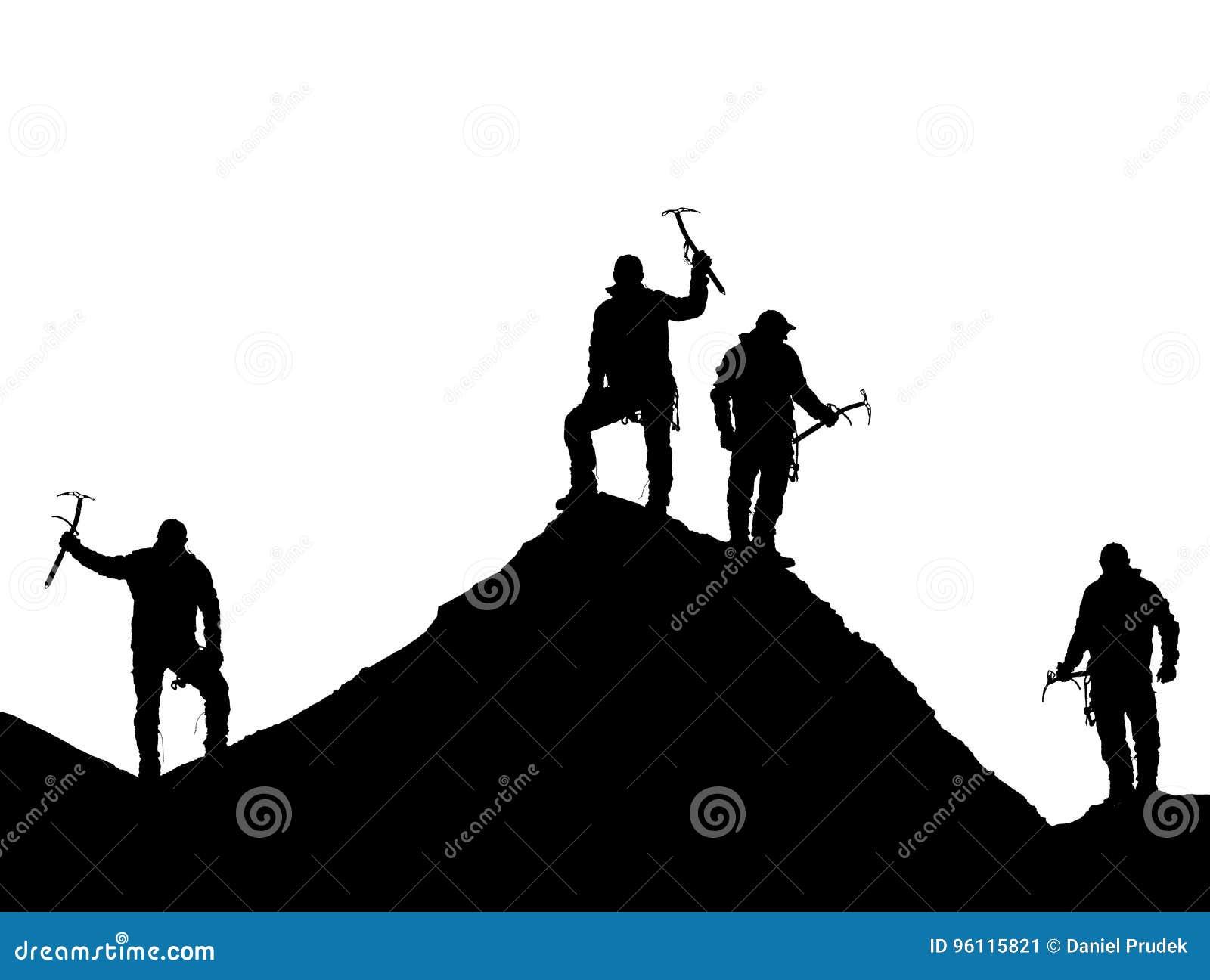 Quattro scalatori con la piccozza da ghiaccio a disposizione sopra l Everest