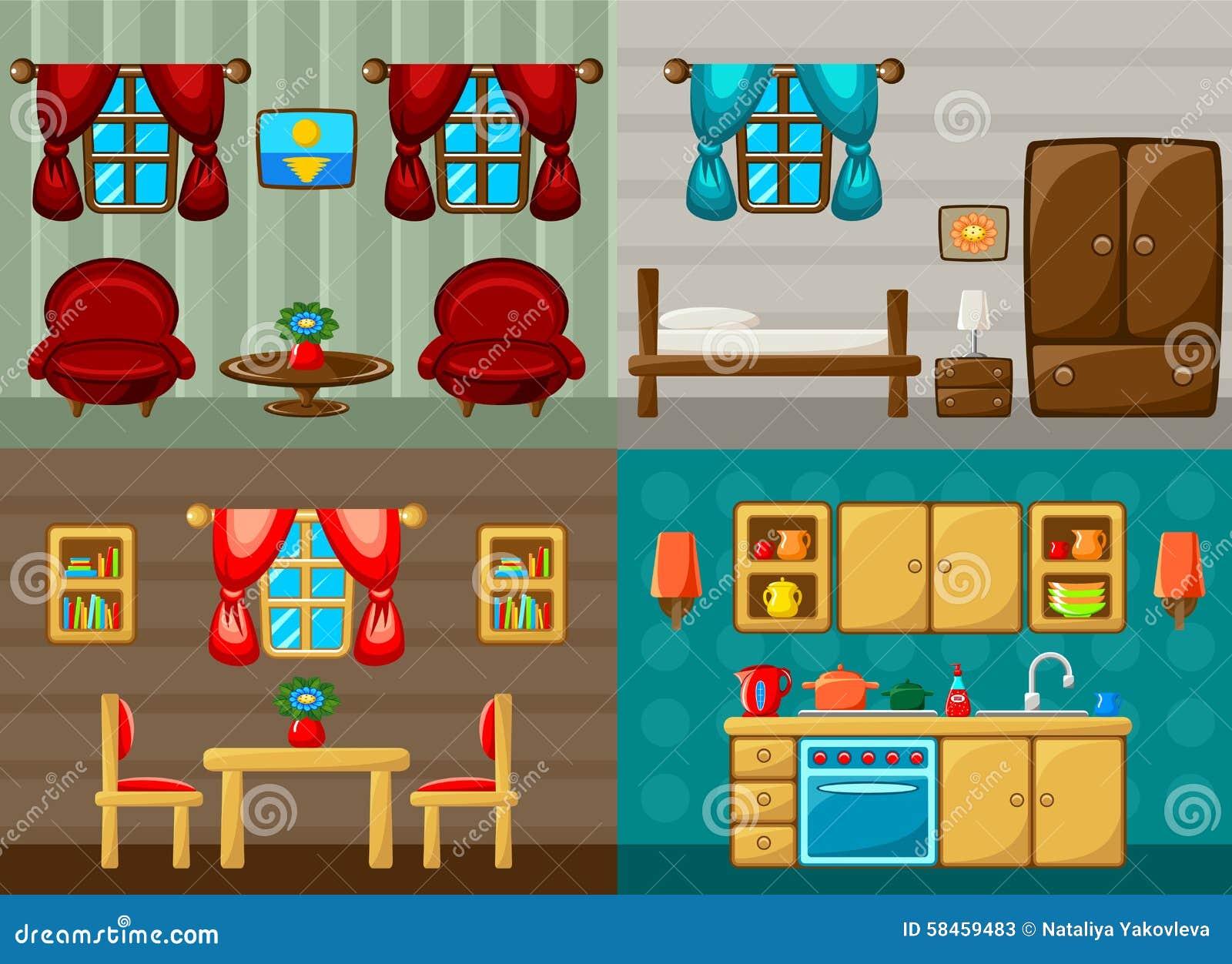 Quattro Stanze Di Vettore Camera Da Letto Salotto Sala Da Pranzo E Cucina Illustrazione Vettoriale Illustrazione Di Fumetto Finestra 58459483