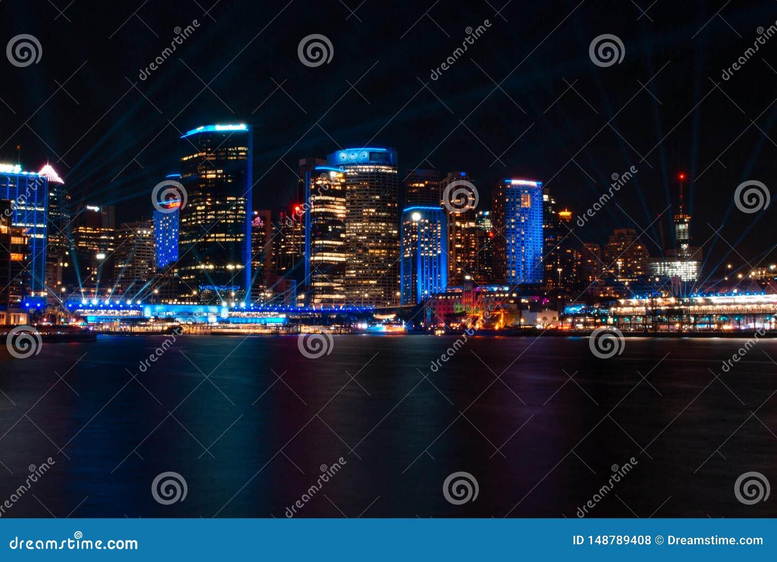Quay circular en el festival vivo 2019 de las luces de Sydney