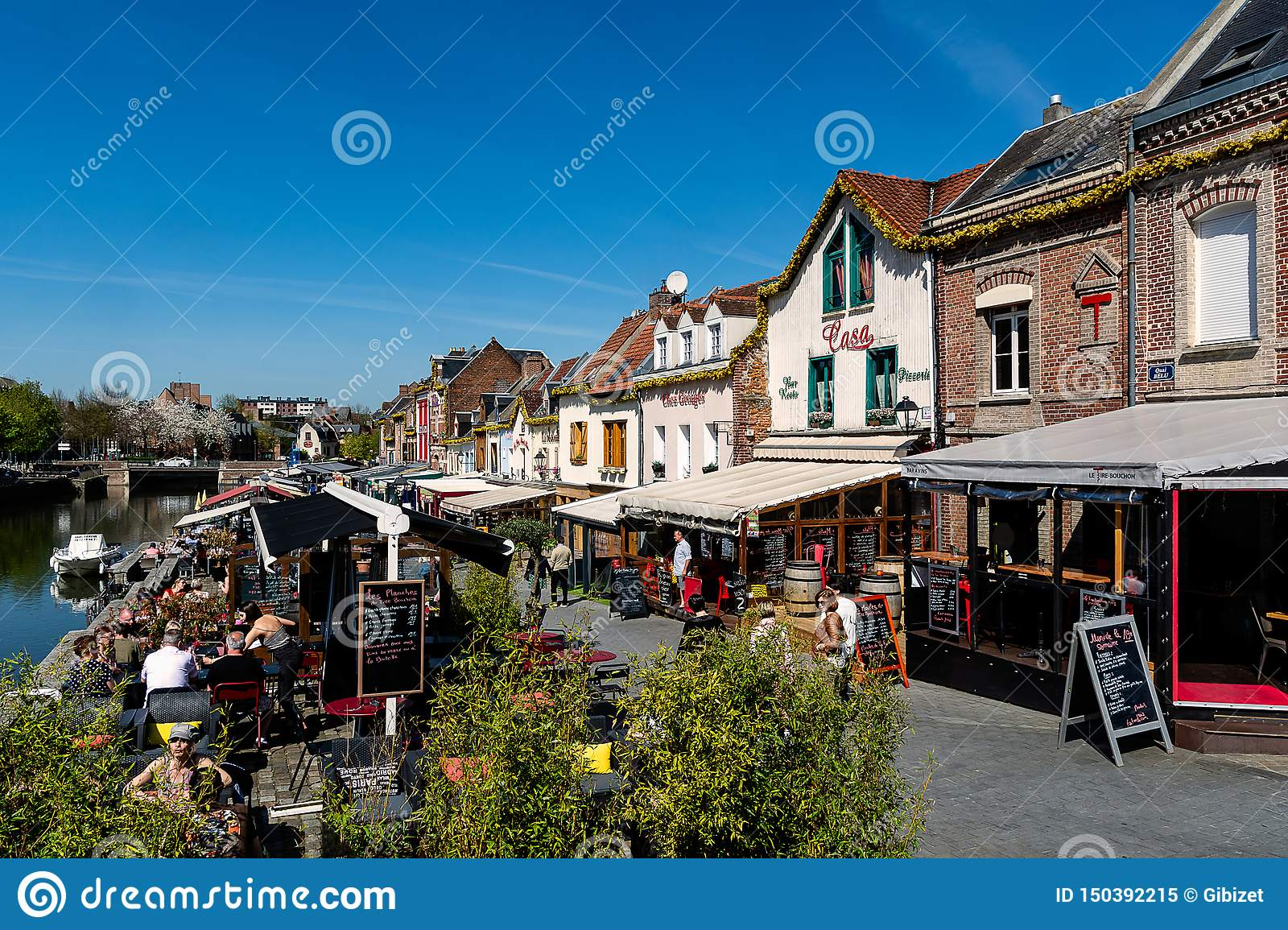 The quay of restaurants in Amiens in France