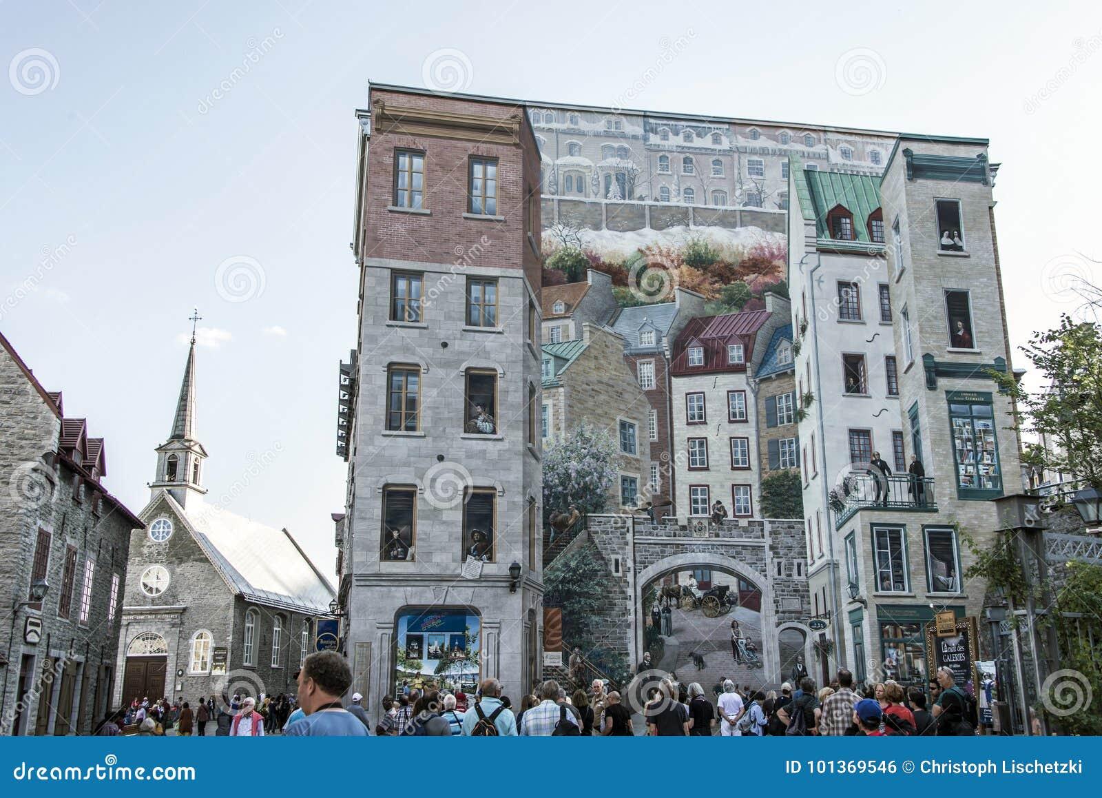 Quebec Canada 13 09 2017 Fresco Fresque Quebecois Painting Art Wall