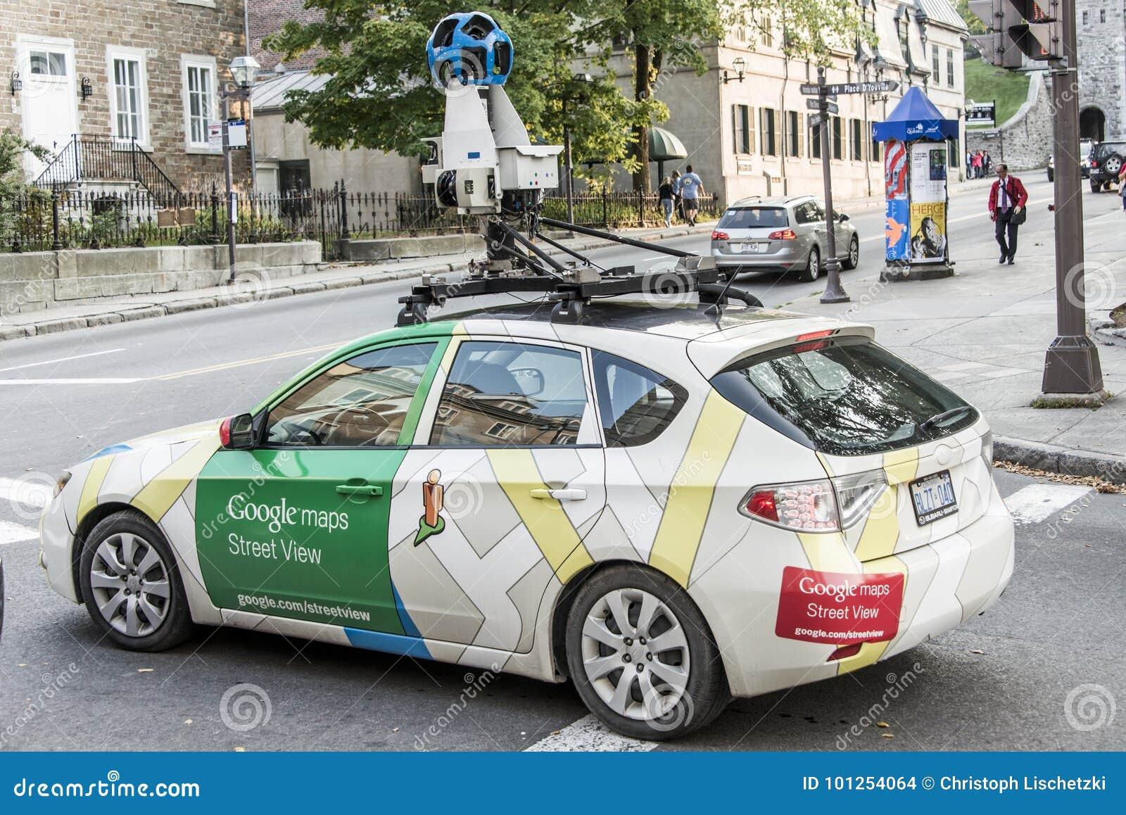 Quebec City Kanada 11 09 Gator 2017 för bil för medel för Google gatasikt apping genom hela centret av Quebec