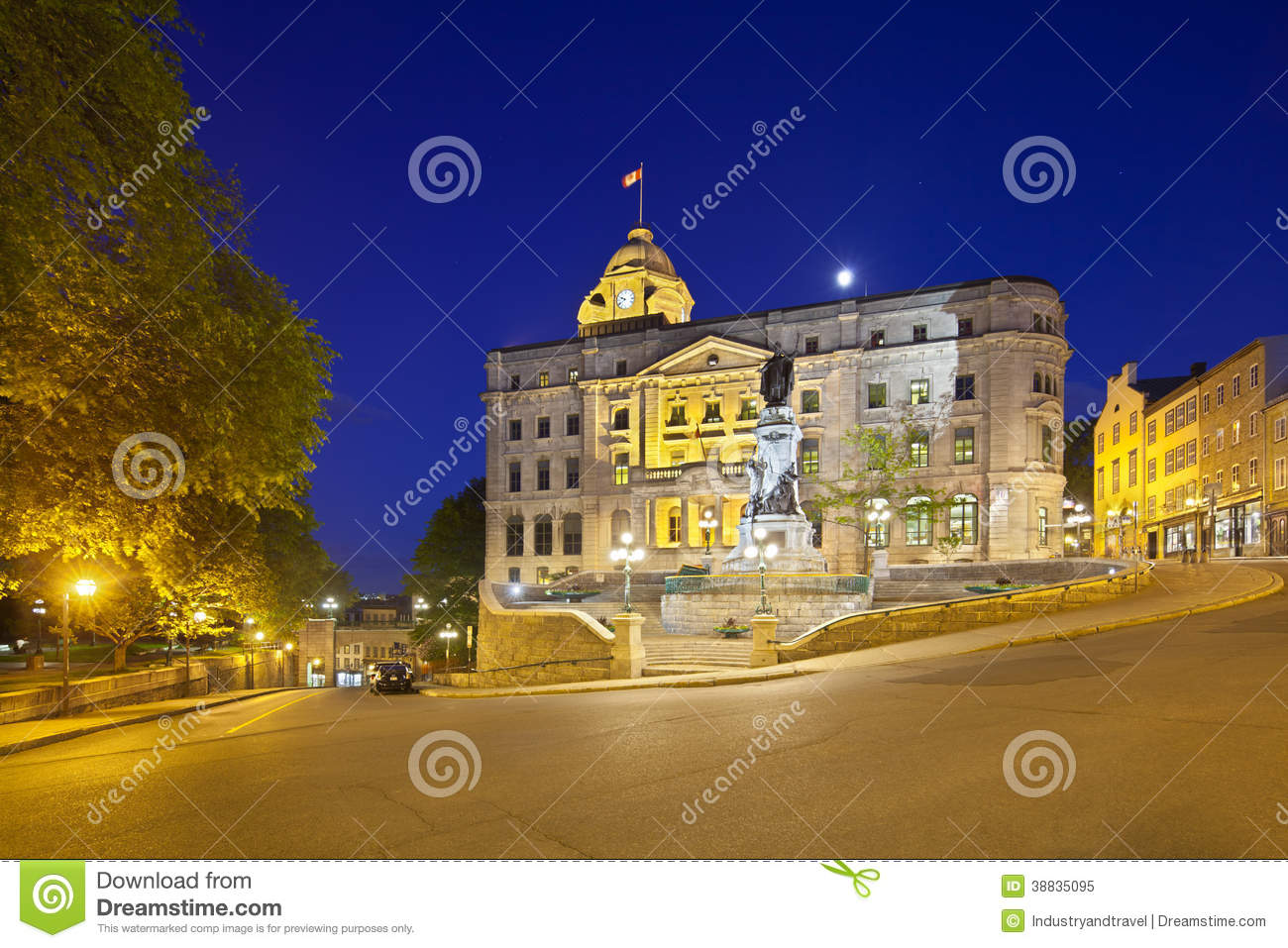 Quebec city old town at night canada editorial editorial image