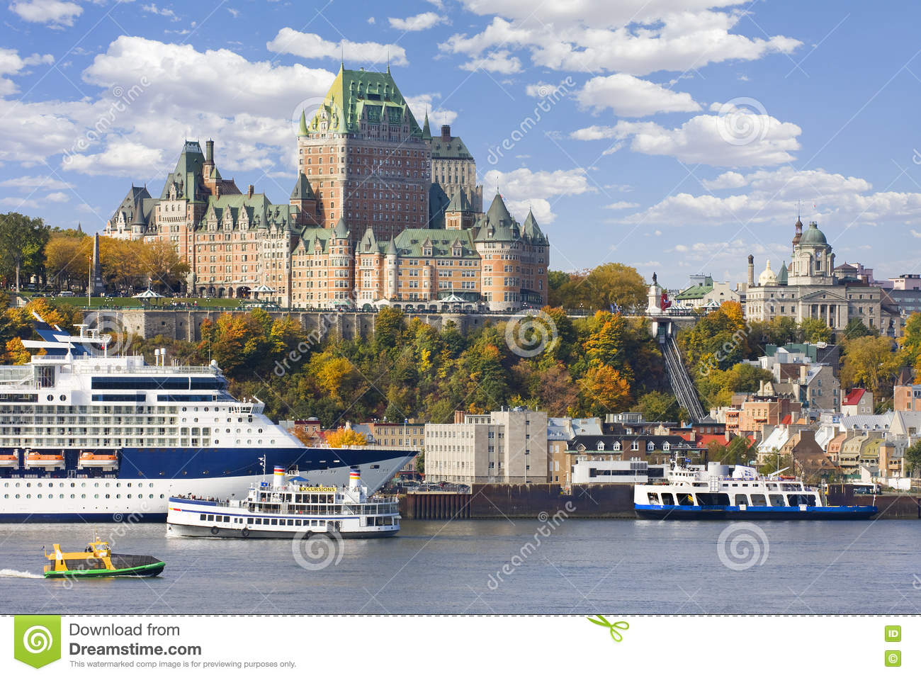 Quebec City and St Lawrence River in autumn
