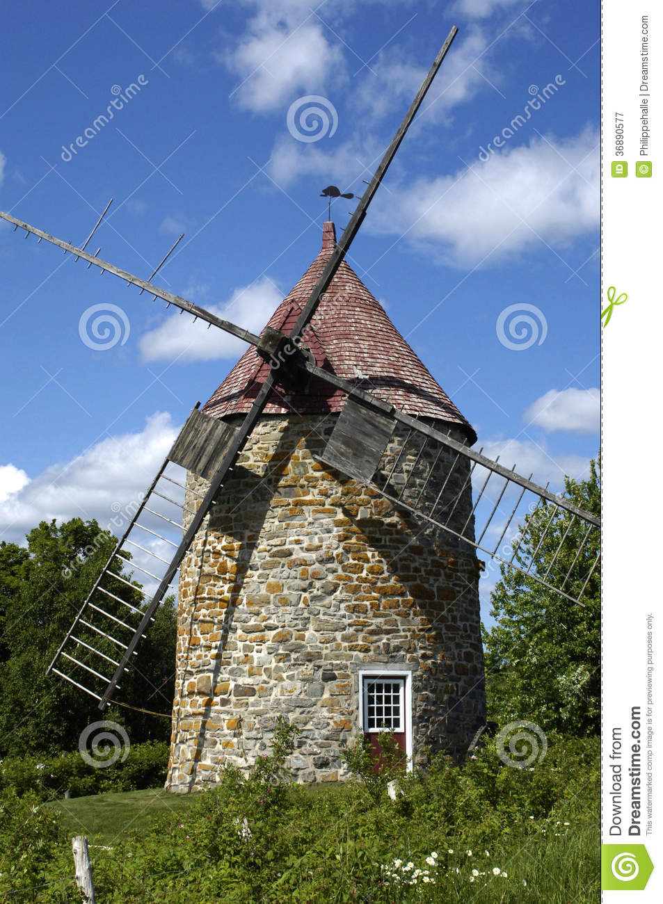 Quebec, An Old Windmill In Orleans Island Royalty Free Stock ...