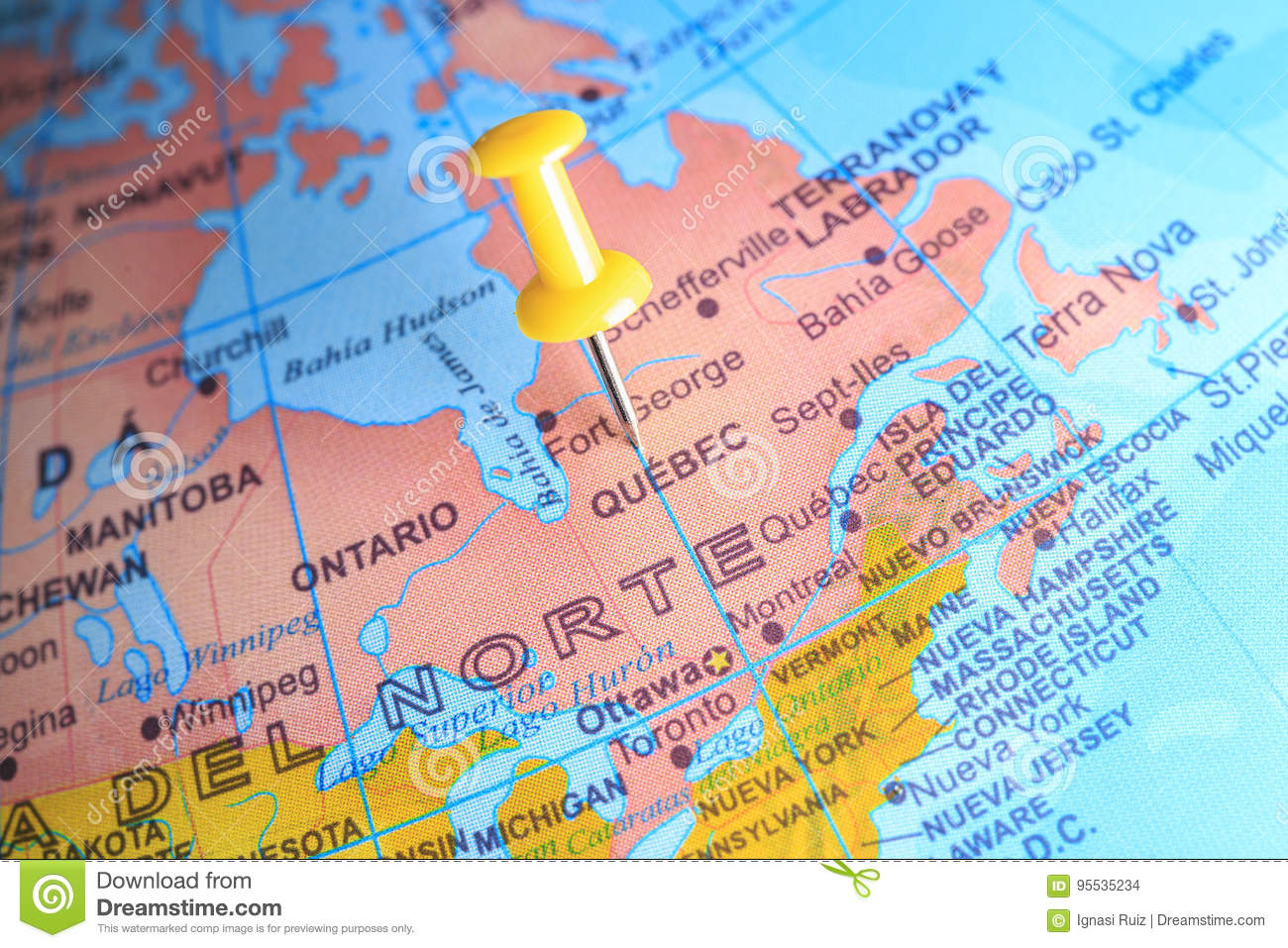 Map Of Canada And Europe.Quebec Pinned On A Map Of Canada Stock Photo Image Of Asia Europe