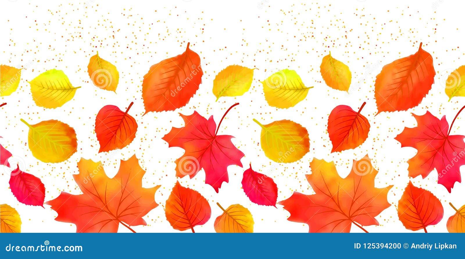 Queda brilhante sem emenda Autumn Leaves Border