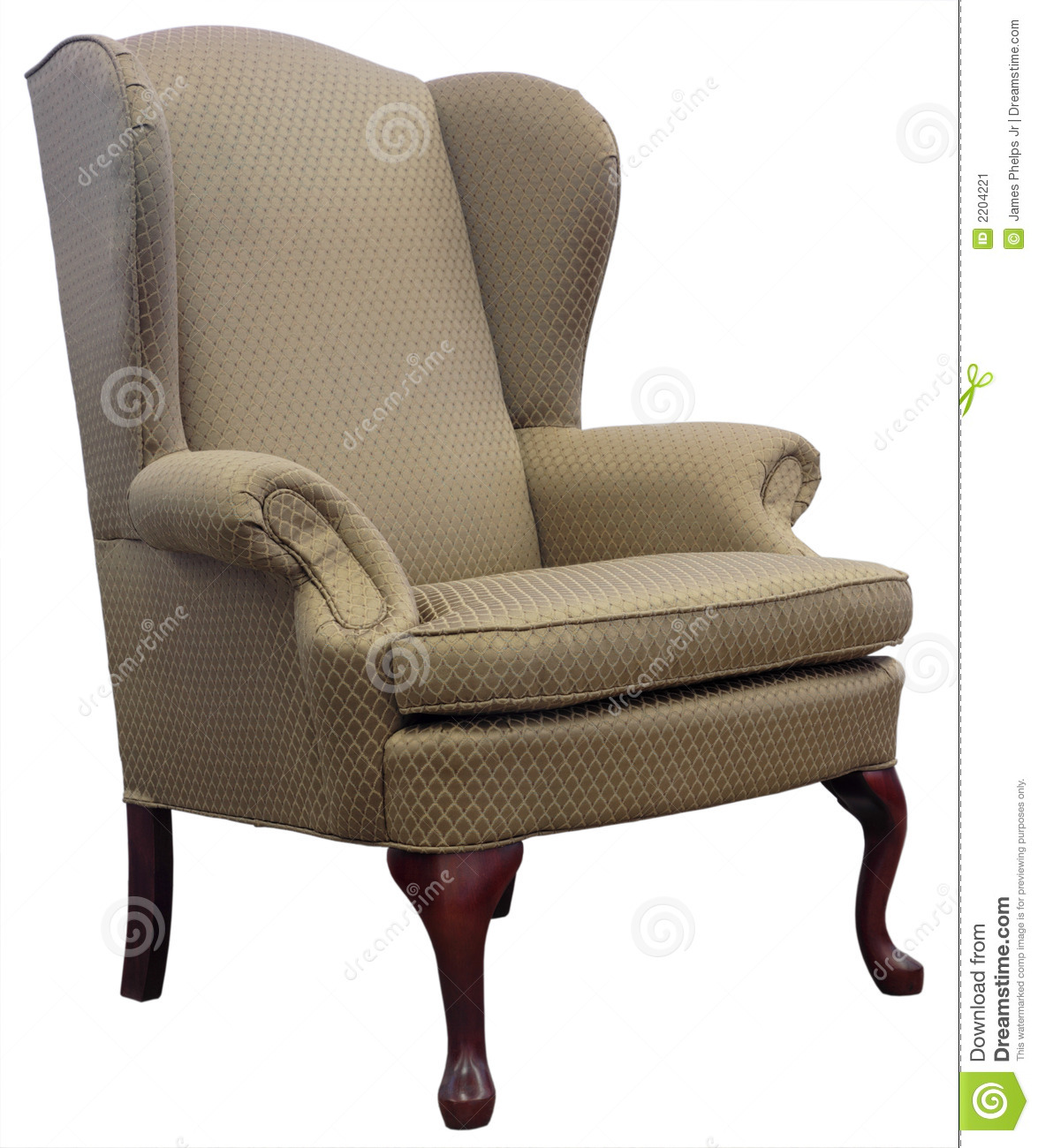Queen Anne Style Wing Chair Stock Image Image 2204221