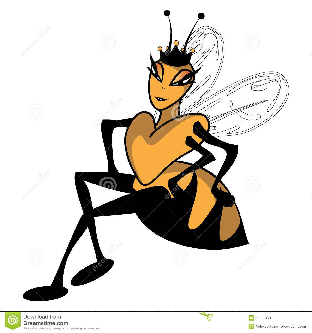 Illustration of a queen bee in a sitting position.