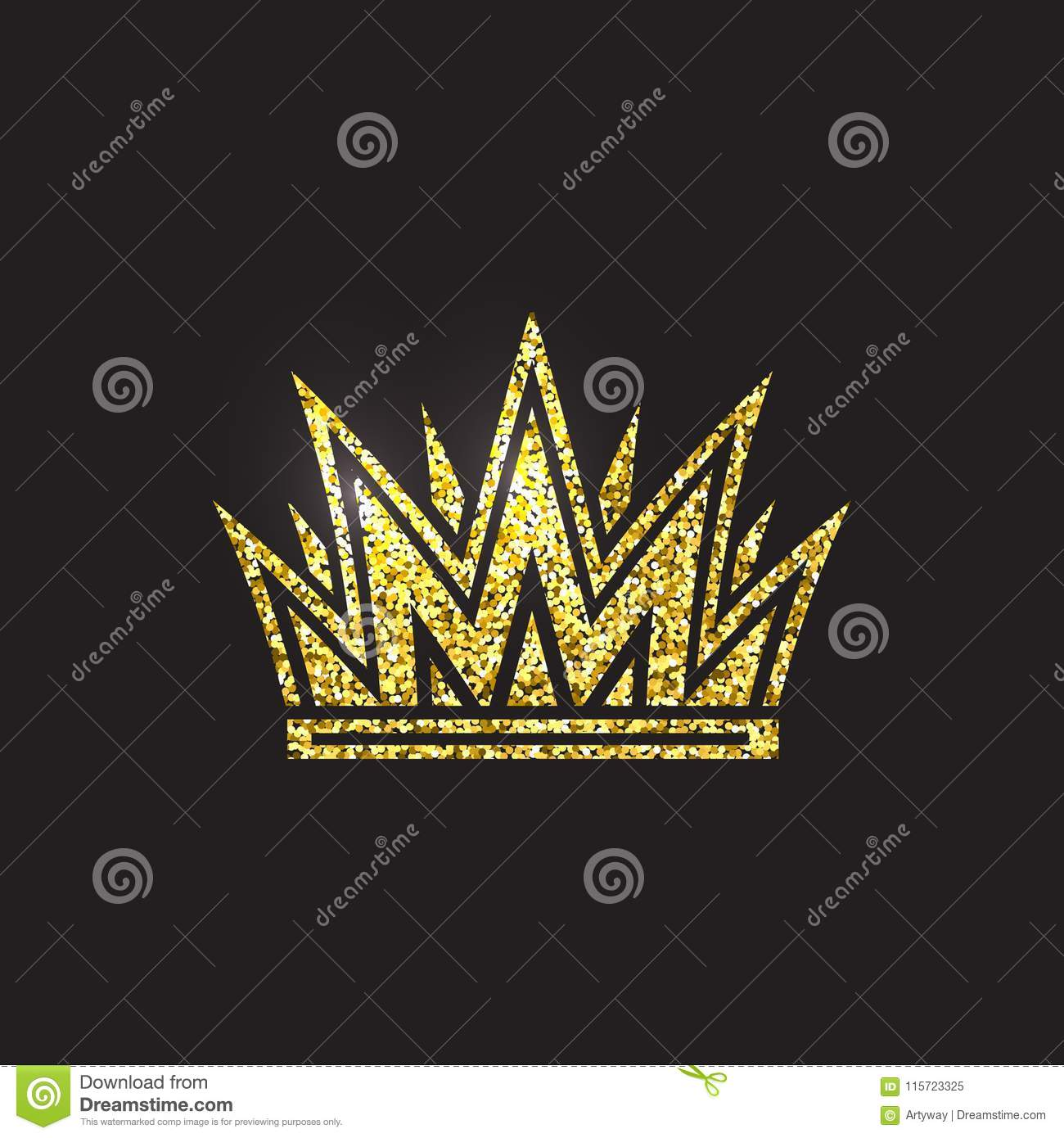 Queen crown, royal gold headdress. King golden accessory. Isolated vector illustrations. Elite class symbol on black