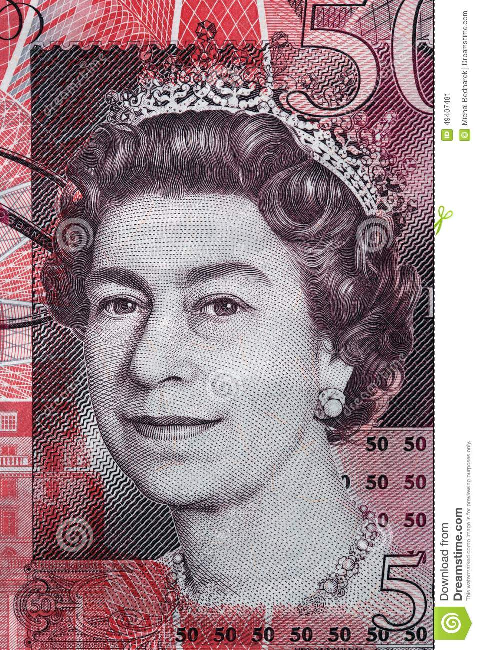 Queen Elizabeth II portrait on 50 pound sterling banknote Editorial Photo - queen-elizabeth-ii-portrait-pound-sterling-banknote-british-currency-49407481