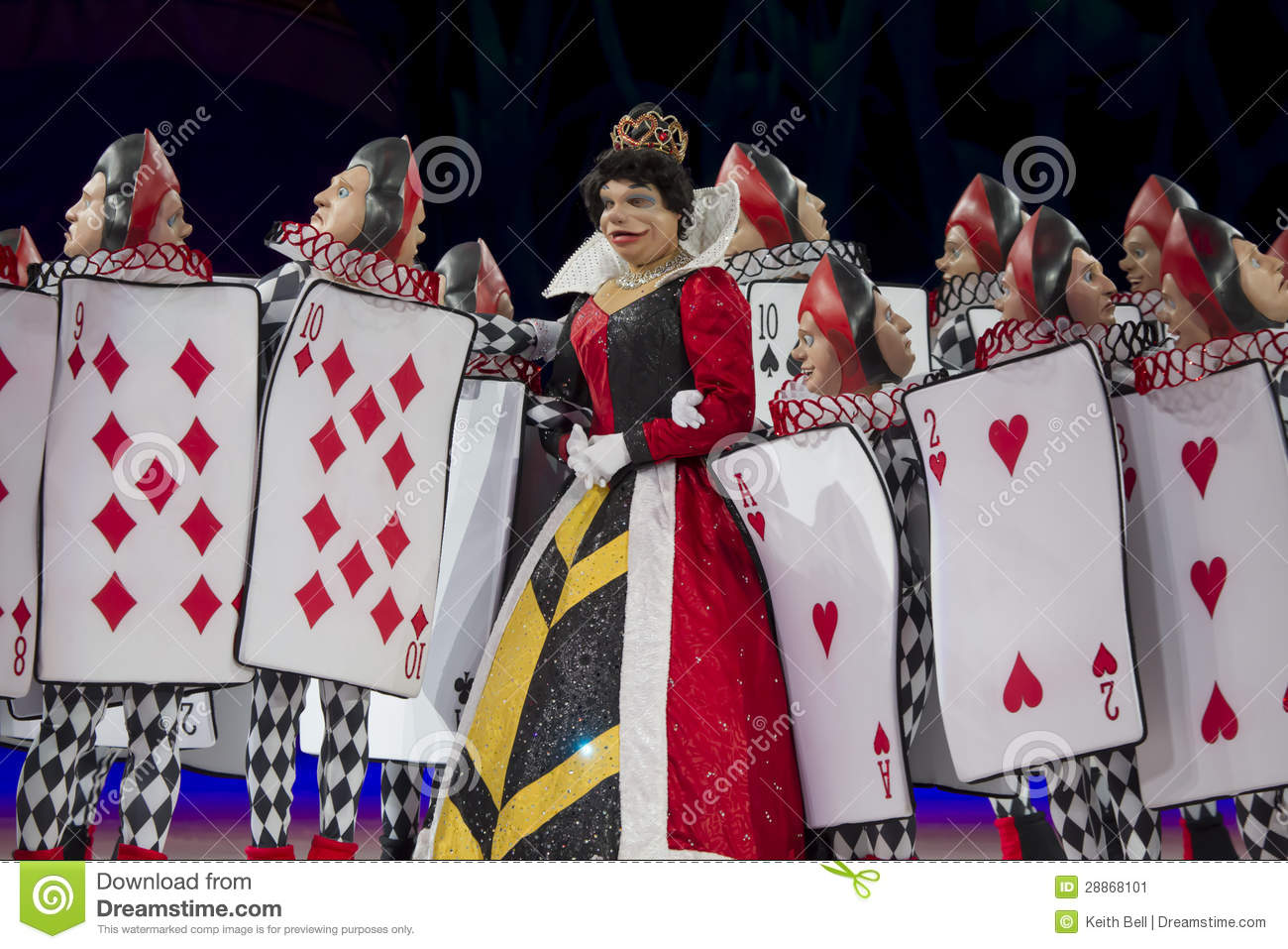 queen of hearts and card soldiers close up editorial photo image