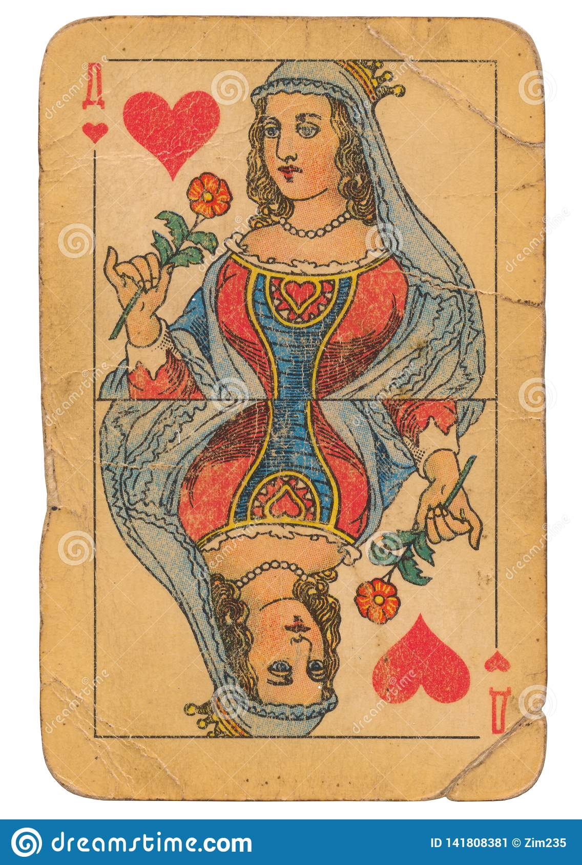 Queen Of Hearts Old Grunge Soviet Style Playing Card Stock Image Image Of Shadow Risk 141808381