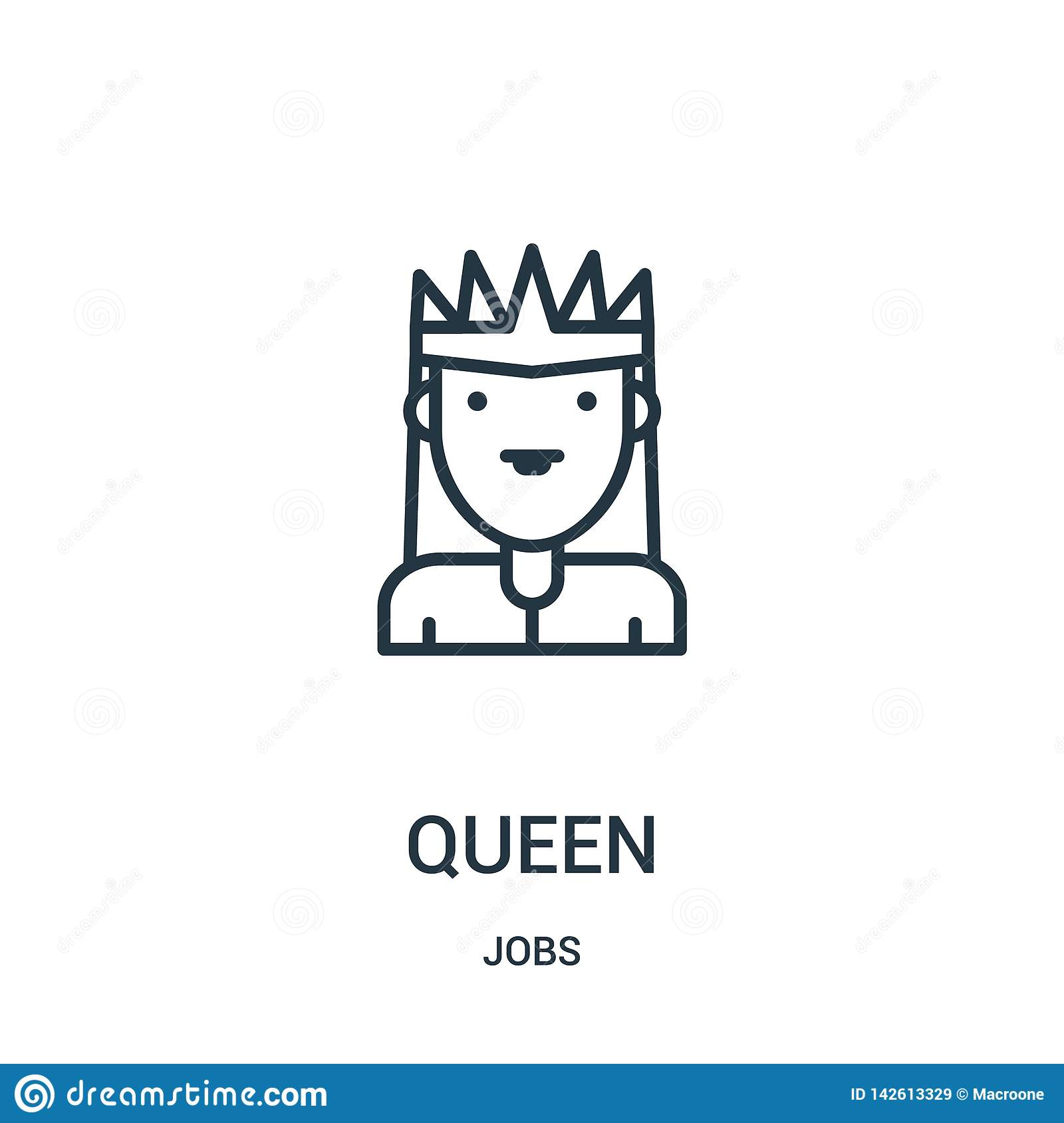 queen icon vector from jobs collection. Thin line queen outline icon vector illustration. Linear symbol