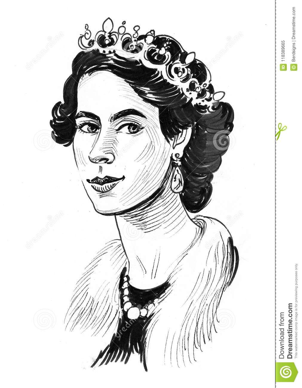Ink black and white portrait of a queen elizabeth 2
