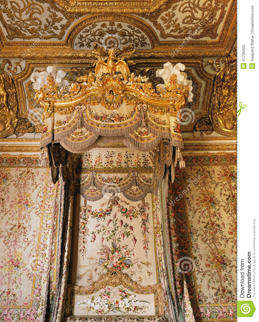 Queen Marie Antoinette Bed At Versailles Palace Editorial ...