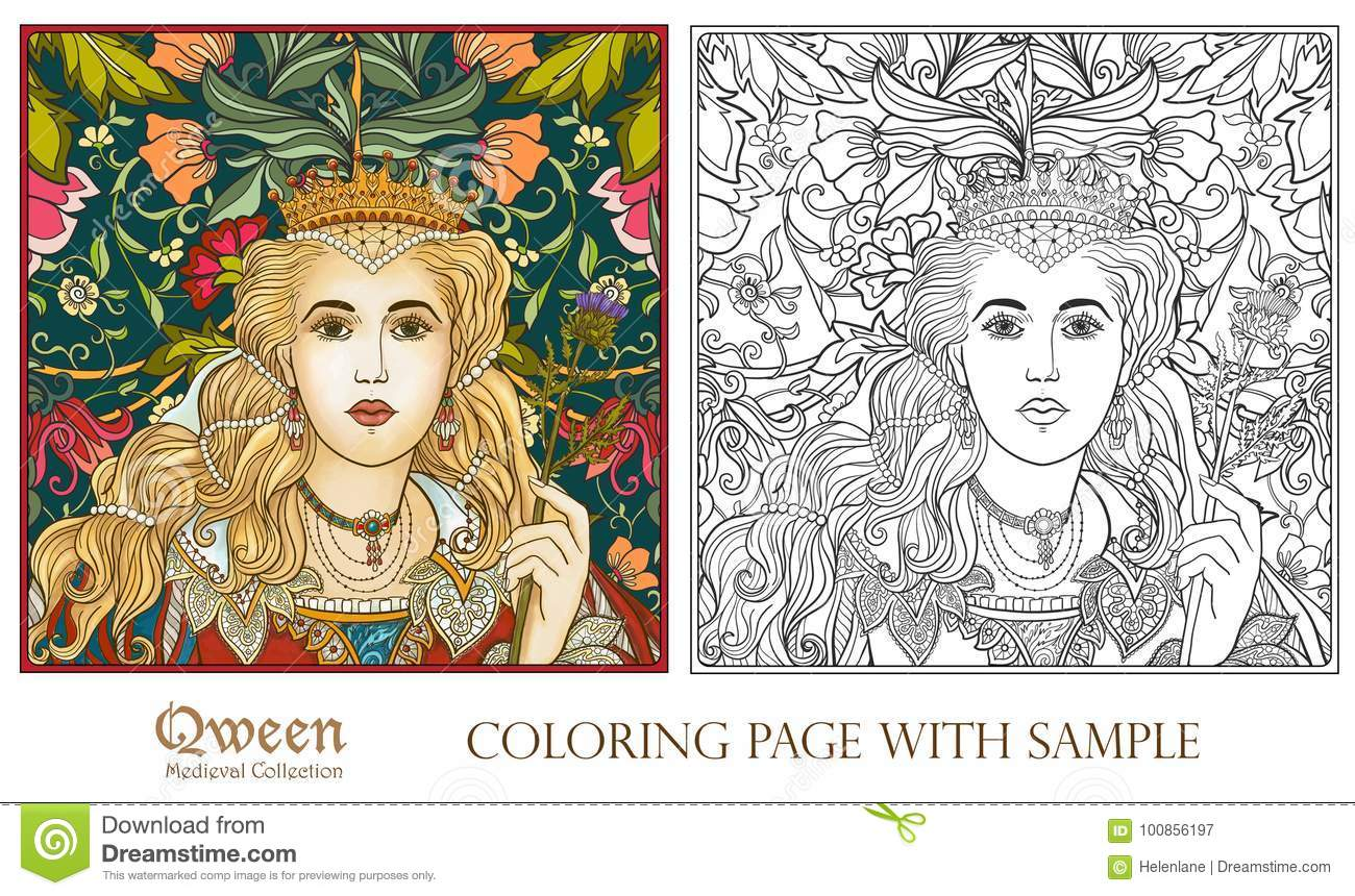 Queen On Medieval Floral Pattern Background. Stock Vector ...
