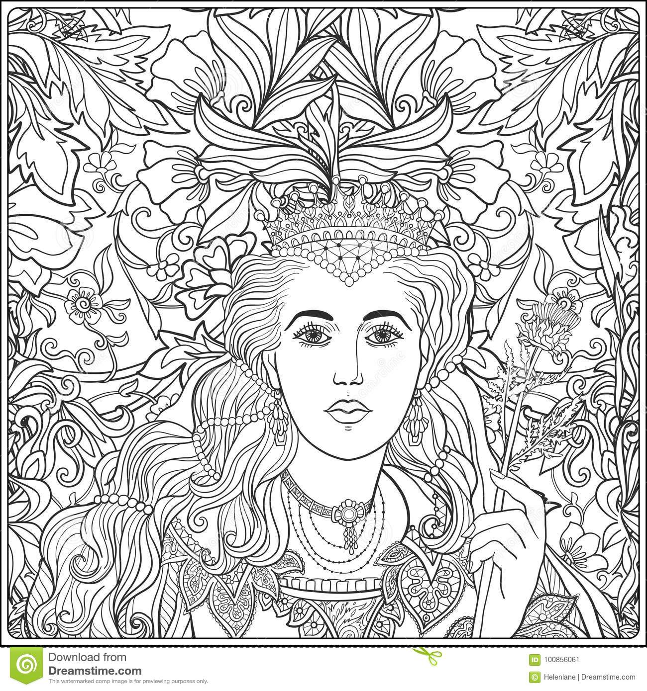 Queen On Medieval Floral Pattern Background. Coloring Book Stock ...