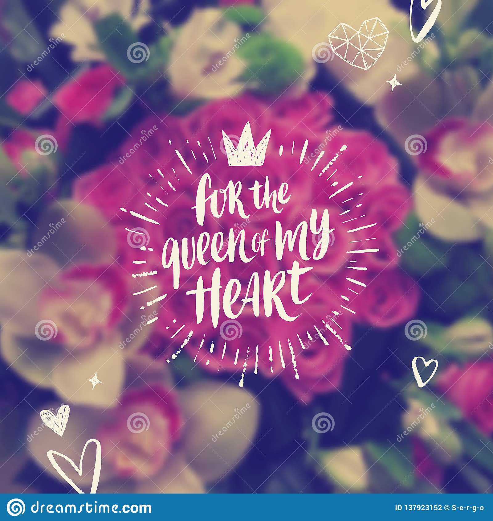 For the queen of my heart - Valentines day Greeting card.