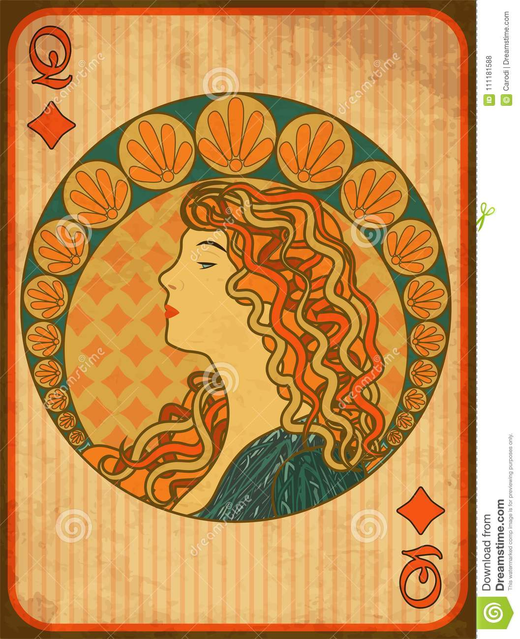Queen poker diamonds card in art nouveau style