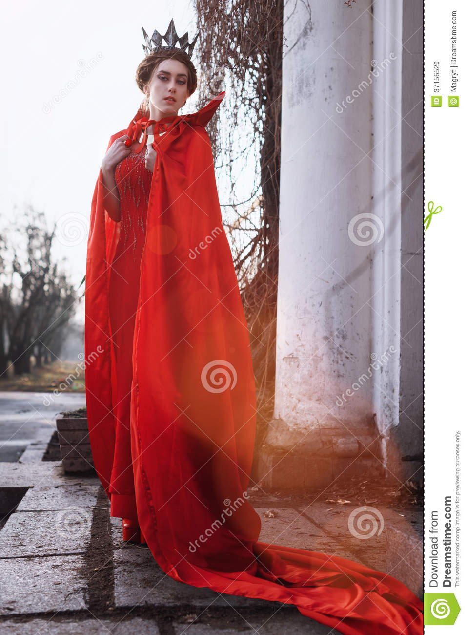 Queen In The Red Cloak Stock Photo Image Of Portrait