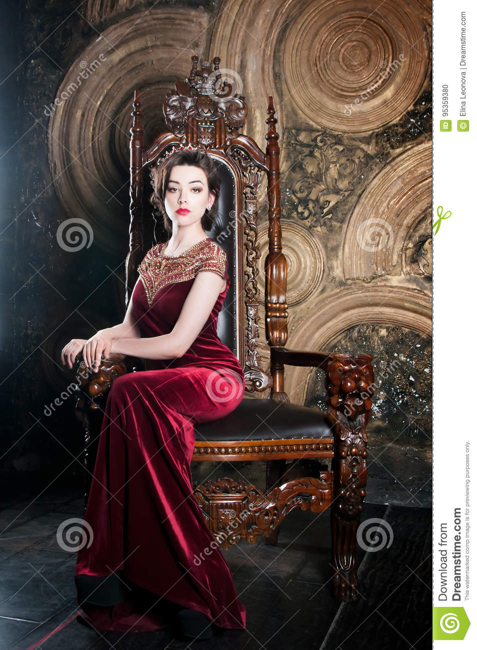 Queen In Red Dress Sitting On Throne. Symbol Of Power ...