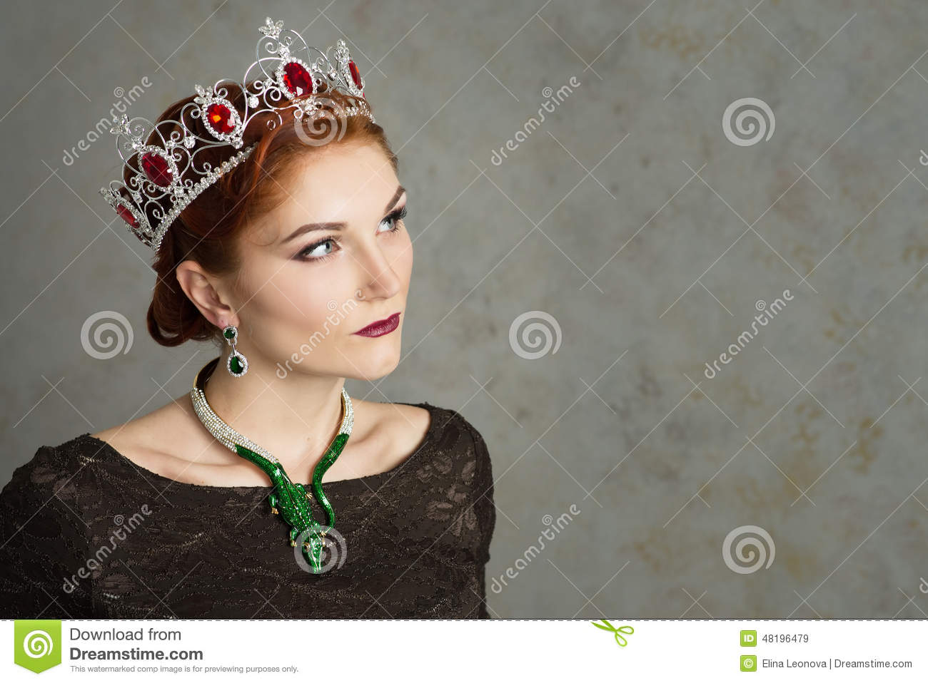 Queen, royalty person with crown. Fashion, elegant woman