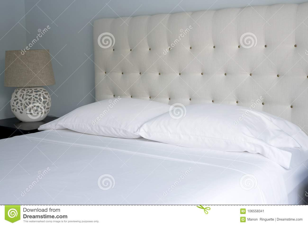 Queen Sized Crisp White Bed Linens Stock Image Image Of Interior Checking 106558341