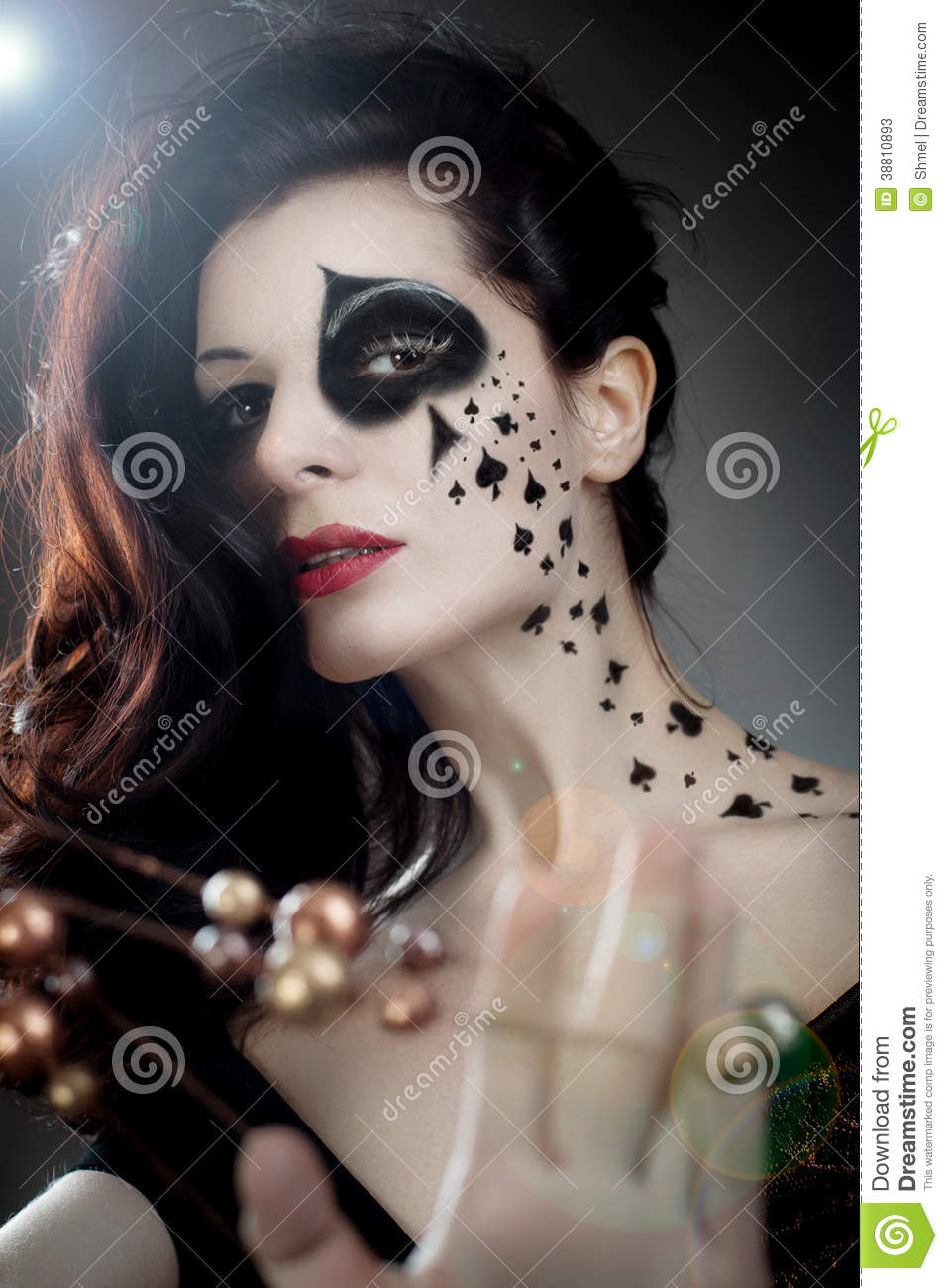 spade card face paint  Queen of Spades stock image. Image of white, spade, necklace ...